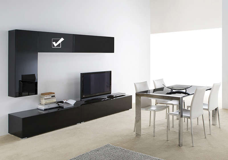 Meuble tv suspendu mural design laqu horizontal u s for Meuble tv suspendu noir laque