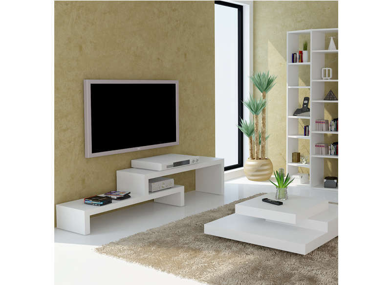 Meuble tv design blanc 125 cm skien for Meuble de tele design